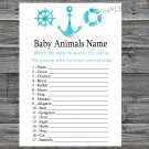 Nautical Baby Animals Name Game,Nautical Baby shower games,INSTANT DOWNLOAD--219