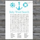 Nautical Baby Shower Word Search Game,Nautical Baby shower games,INSTANT DOWNLOAD--219