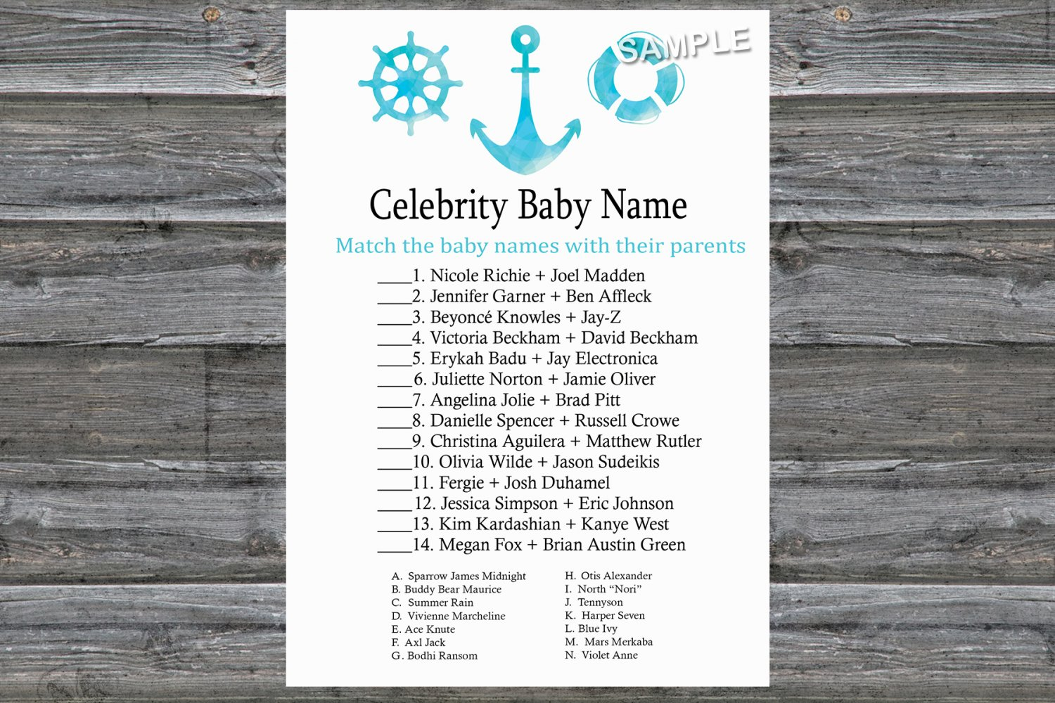 Nautical Celebrity Baby Name Game,Nautical Baby shower games,INSTANT DOWNLOAD--219