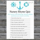 Nautical Nursery Rhyme Quiz Game,Nautical Baby shower games,INSTANT DOWNLOAD--219