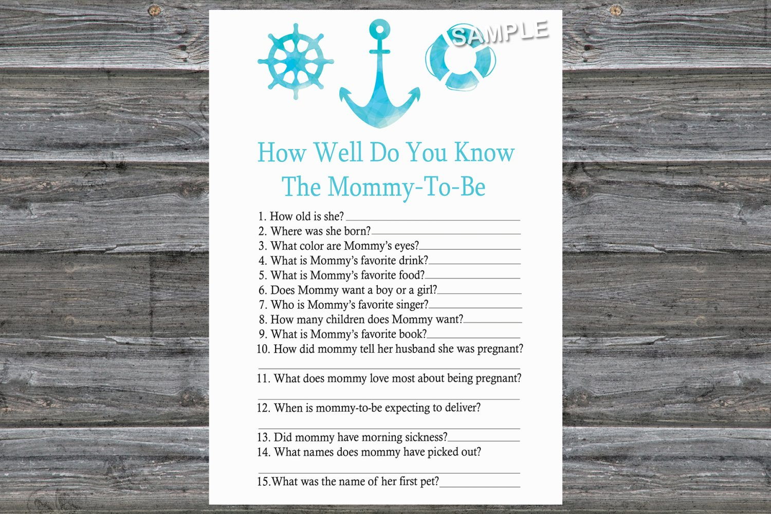 Nautical How Well Do You Know Game,Nautical Baby shower games,INSTANT DOWNLOAD--219