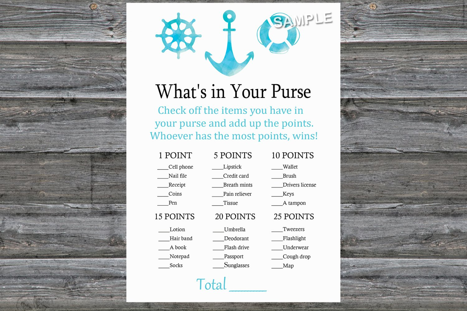 Nautical What's In Your Purse Game,Nautical Baby shower games,INSTANT DOWNLOAD--219