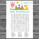 Rabbit Baby Shower Word Search Game,Pink Rabbit Baby shower games,INSTANT DOWNLOAD--216
