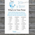 Blue Dinosaur What's in your purse game,Blue Dinosaur Baby shower games,INSTANT DOWNLOAD-207
