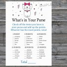 Cat What's in your purse game,Cat or Kitten Baby shower games,INSTANT DOWNLOAD--206