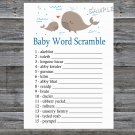 Whale Baby word scramble game,Whale Baby shower games,INSTANT DOWNLOAD--205