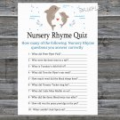 Dolphin Nursery Rhyme Quiz baby shower game,Dolphin Baby shower games,INSTANT DOWNLOAD--201