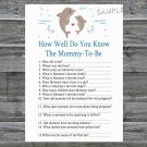 Dolphin How well do you know baby shower game,Dolphin Baby shower games,INSTANT DOWNLOAD--201