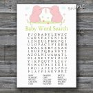 Pink Elephants Baby Shower Word Search Game,Elephants Baby shower games,INSTANT DOWNLOAD--194