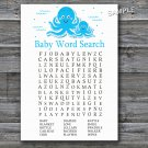 Blue Octopus Baby Shower Word Search Game,Octopus Baby shower games,INSTANT DOWNLOAD--191