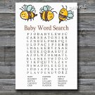 Bumble Bee Baby Shower Word Search Game,Bumble Bee Baby shower games,INSTANT DOWNLOAD--186