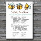 Bumble Bee Celebrity Baby Name Game,Bumble Bee Baby shower games,INSTANT DOWNLOAD--186