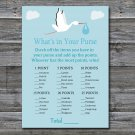 Blue Stork What's in your purse game,Blue Stork Baby shower games,INSTANT DOWNLOAD--173