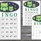 Owl bingo game,Owl bingo cards,birthday bingo games,60 Printable card,INSTANT DOWNLOAD--363