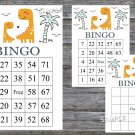 Orange Dinosaur bingo game,birthday bingo games,60 Printable card,INSTANT DOWNLOAD--332