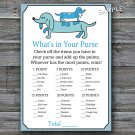 Dachshund What's in your purse game,Dachshund Baby shower games,INSTANT DOWNLOAD--168