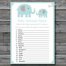 Cute elephant Baby Animals Name Game,Elephant Baby shower games,INSTANT DOWNLOAD--161