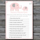 Elephant Nursery Rhyme Quiz baby shower game,Pink Elephant Baby shower games,INSTANT DOWNLOAD--160