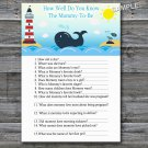 Whale How well do you know baby shower game,Whale Baby shower games,INSTANT DOWNLOAD--147