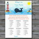 Whale What's in your purse game,Whale Baby shower games,INSTANT DOWNLOAD--147