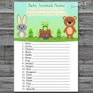 Woodland animals Baby Animals Name Game,Woodland Baby shower games,INSTANT DOWNLOAD--146