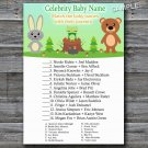 Woodland animals Celebrity Baby Name Game,Woodland Baby shower games,INSTANT DOWNLOAD--146