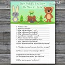 Woodland How well do you know baby shower game,Woodland Baby shower games,INSTANT DOWNLOAD--146