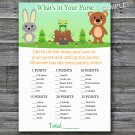 Woodland What's in your purse game,Woodland Baby shower games,INSTANT DOWNLOAD--146