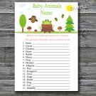 Woodland Baby Animals Name Game,Woodland Baby shower games,INSTANT DOWNLOAD--145