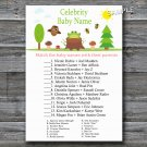 Woodland Celebrity Baby Name Game,Woodland Baby shower games,INSTANT DOWNLOAD--145