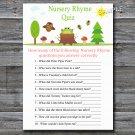 Woodland Nursery Rhyme Quiz baby shower game,Woodland Baby shower games,INSTANT DOWNLOAD--145