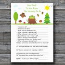 Woodland How well do you know baby shower game,Woodland Baby shower games,INSTANT DOWNLOAD--145