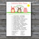 Farm animals Celebrity Baby Name Game,Farm Baby shower games,INSTANT DOWNLOAD--144
