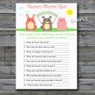 Farm animals Nursery Rhyme Quiz baby shower game,Farm Baby shower games,INSTANT DOWNLOAD--144
