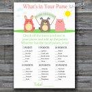Farm animals What's in your purse game,Farm Baby shower games,INSTANT DOWNLOAD--144