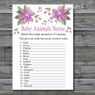 Purple flowers Baby Animals Name Game,Flowers Baby shower games,INSTANT DOWNLOAD--129