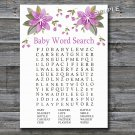 Purple flowers Baby Shower Word Search Game,Flowers Baby shower games,INSTANT DOWNLOAD--129