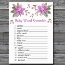 Purple flowers Baby word scramble game,Flowers Baby shower games,INSTANT DOWNLOAD--129