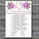 Purple flowers Celebrity Baby Name Game,Flowers Baby shower games,INSTANT DOWNLOAD--129
