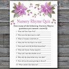 Purple flowers Nursery Rhyme Quiz baby shower game,Flowers Baby shower games,INSTANT DOWNLOAD--129