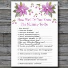Purple flowers How well do you know baby shower game,Flowers Baby shower games,INSTANT DOWNLOAD--129