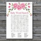 Pink flowers Baby Shower Word Search Game,Pink Flowers Baby shower games,INSTANT DOWNLOAD--128