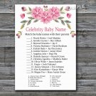Pink flowers Celebrity Baby Name Game,Pink Flowers Baby shower games,INSTANT DOWNLOAD--128