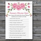 Pink flowers Nursery Rhyme Quiz baby shower game,Flowers Baby shower games,INSTANT DOWNLOAD--128