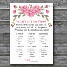 Pink flowers What's in your purse game,Flowers Baby shower games,INSTANT DOWNLOAD--128