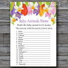 Tulip Baby Animals Name Game,Tulip Baby shower games,INSTANT DOWNLOAD--127