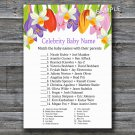 Tulip Celebrity Baby Name Game,Tulip Baby shower games,INSTANT DOWNLOAD--127