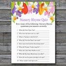 Tulip Nursery Rhyme Quiz baby shower game,Tulip Baby shower games,INSTANT DOWNLOAD--127