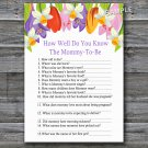 Tulip How well do you know baby shower game,Tulip Baby shower games,INSTANT DOWNLOAD--127