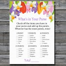 Tulip What's in your purse game,Tulip Baby shower games,INSTANT DOWNLOAD--127
